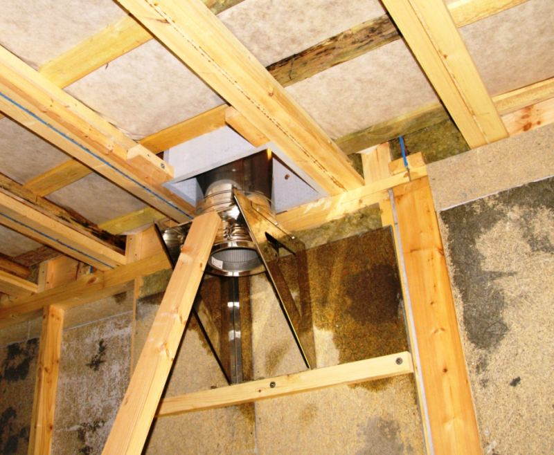 Проход трубы дымохода через потолок: всё о монтаже потолочной разделки